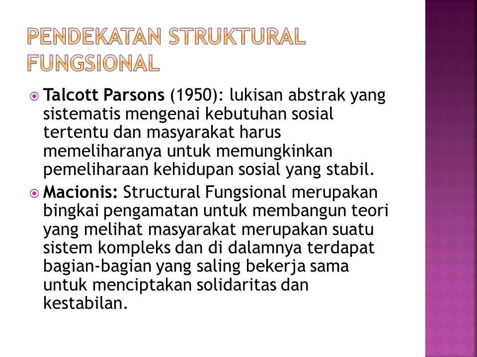  Talcott Parsons (1950): lukisan abstrak yang sistematis mengenai kebutuhan sosial tertentu dan masyarakat harus memeliharanya untuk memungkinkan pem