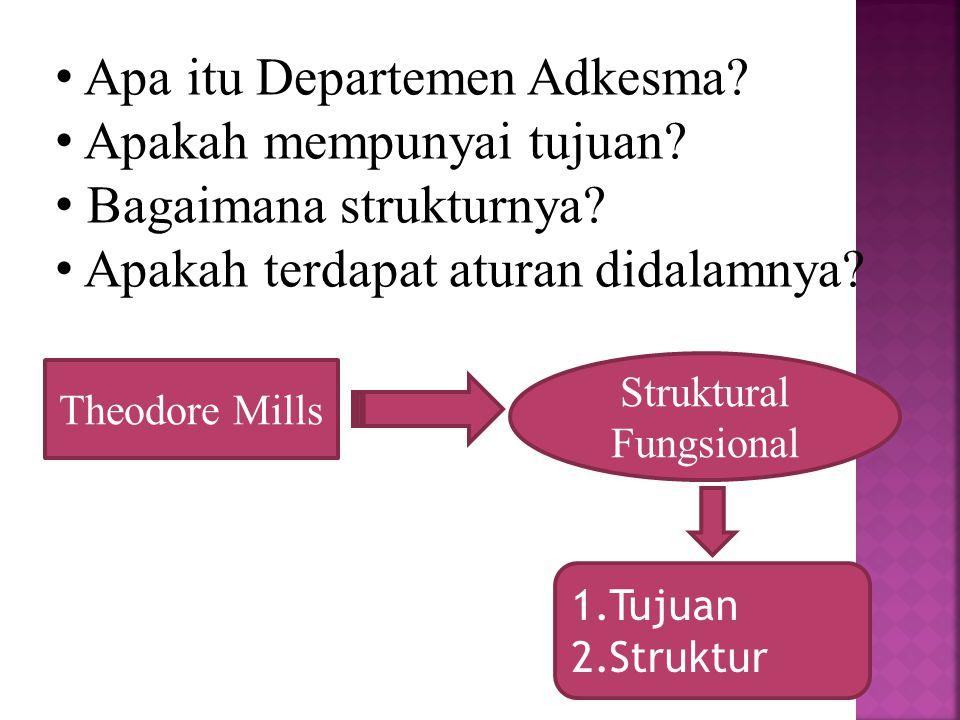 Apa itu Departemen Adkesma? Apakah mempunyai tujuan? Bagaimana strukturnya? Apakah terdapat aturan didalamnya? Theodore Mills Struktural Fungsional 1.