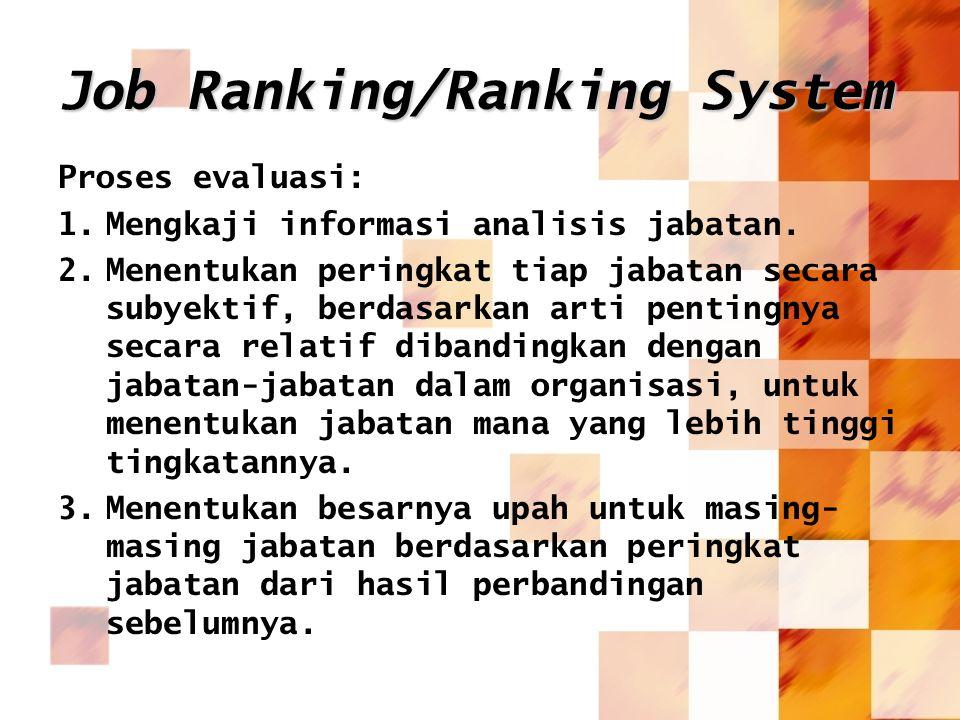 Job Ranking/Ranking System Proses evaluasi: 1.Mengkaji informasi analisis jabatan. 2.Menentukan peringkat tiap jabatan secara subyektif, berdasarkan a