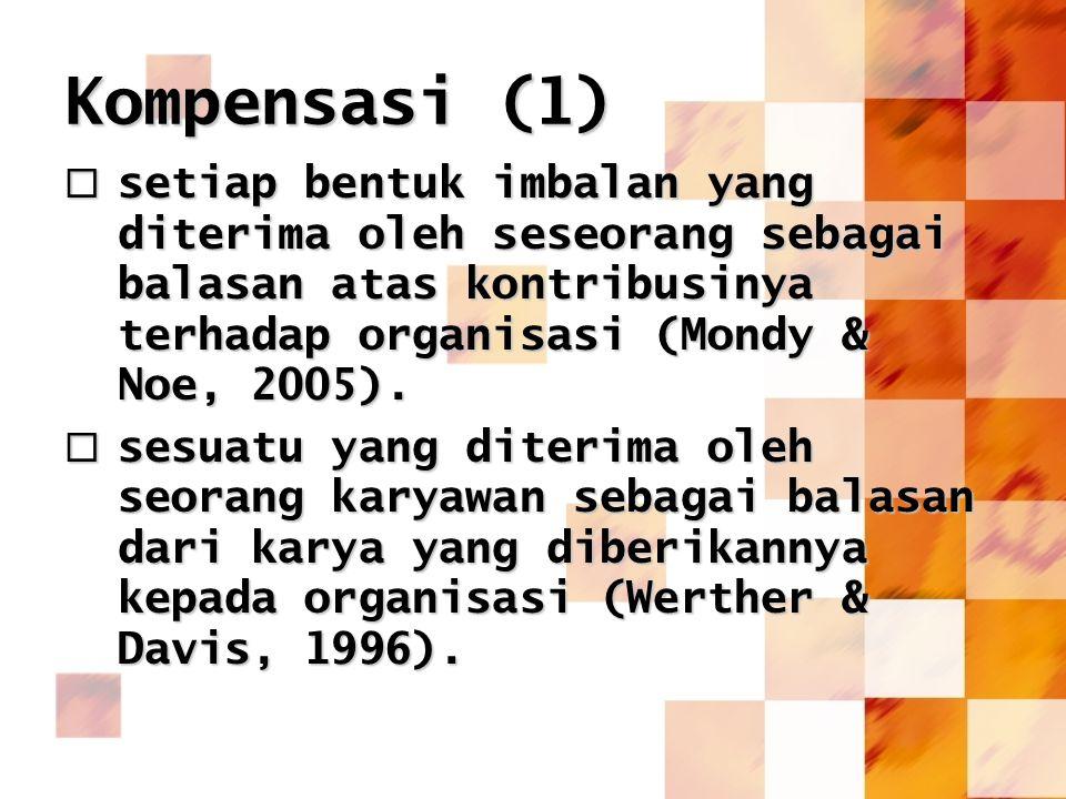 Kompensasi (1)  setiap bentuk imbalan yang diterima oleh seseorang sebagai balasan atas kontribusinya terhadap organisasi (Mondy & Noe, 2005).  sesu