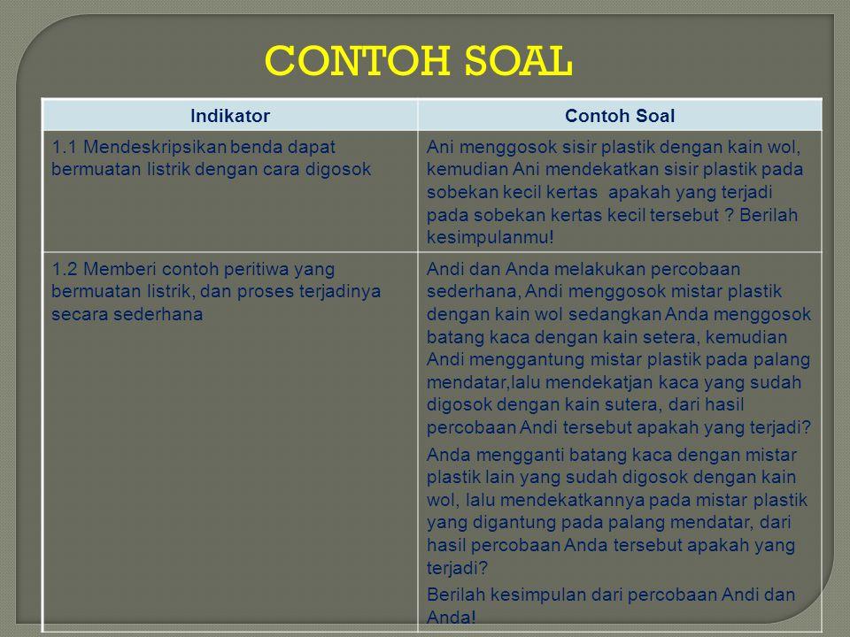 CONTOH SOAL IndikatorContoh Soal 1.1 Mendeskripsikan benda dapat bermuatan listrik dengan cara digosok Ani menggosok sisir plastik dengan kain wol, ke
