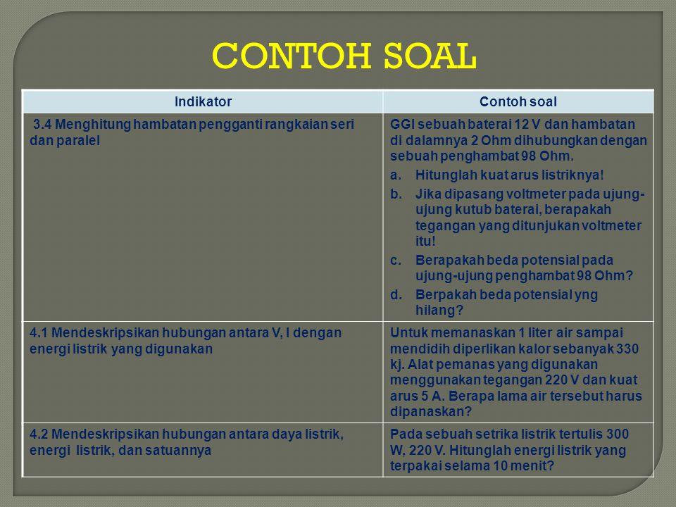 CONTOH SOAL IndikatorContoh soal 3.4 Menghitung hambatan pengganti rangkaian seri dan paralel GGl sebuah baterai 12 V dan hambatan di dalamnya 2 Ohm d