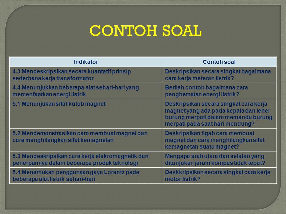 CONTOH SOAL IndikatorContoh soal 4.3 Mendeskripsikan secara kuantatif prinsip sederhana kerja transformator Deskripsikan secara singkat bagaimana cara
