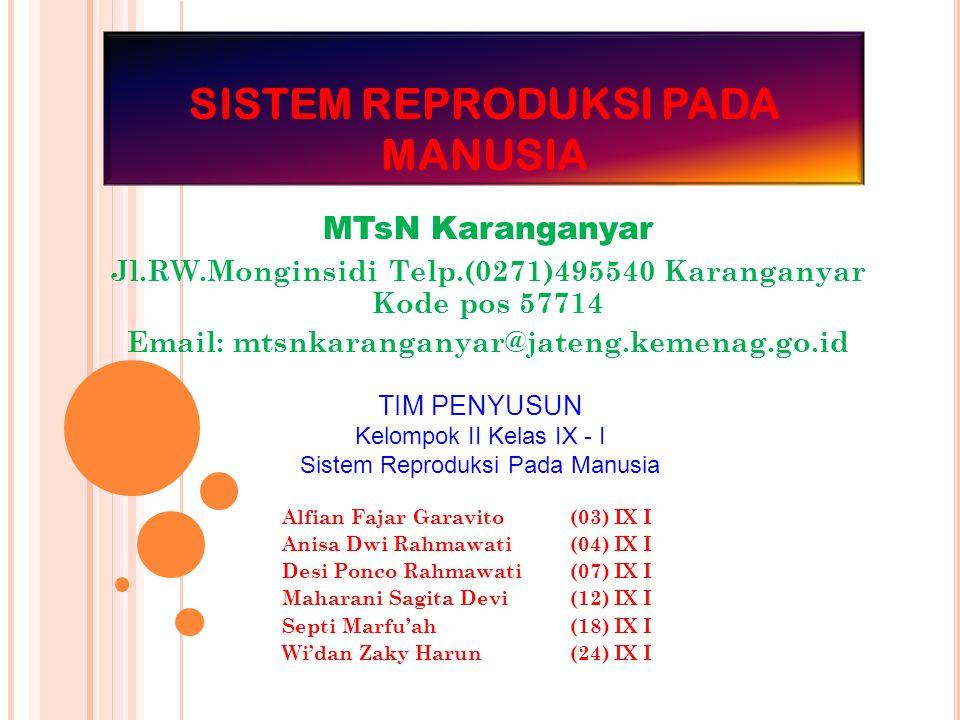 SISTEM REPRODUKSI PADA MANUSIA MTsN Karanganyar Jl.RW.Monginsidi Telp.(0271)495540 Karanganyar Kode pos 57714 Email: mtsnkaranganyar@jateng.kemenag.go