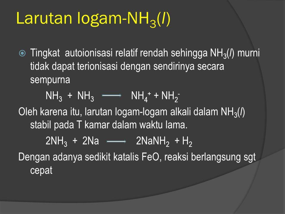  Keuntungan : - kurangnya kecenderungan NH 3 untuk terlibat dalam reaksi dengan solut (solvolisis)  Kelemahan : - peralatan yang digunakan lebih rum