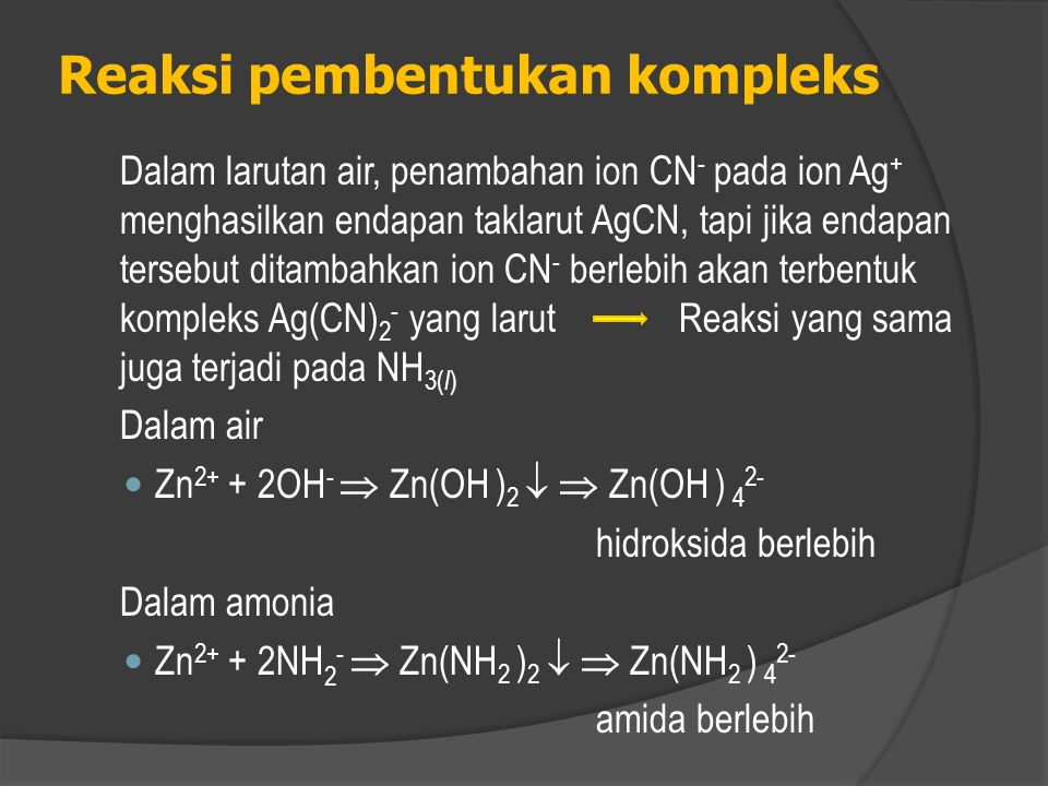  Garam KNH 2 Lebih larut dari pada NaNH 2  Kalium amida dalam air tidak menghasilkan ion amida, reaksinya sbb: KNH 2 (s) + H 2 O(l)  NH 3 (aq) + K