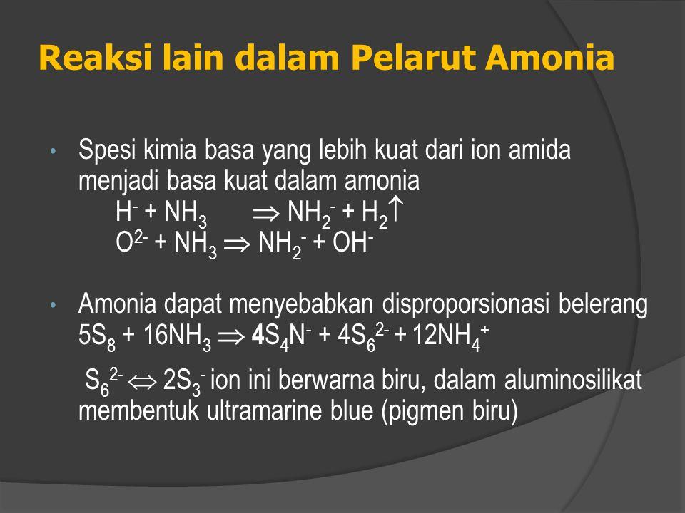  Oksidasi oleh KMnO 4 dalam NH 3( l ) lebih lemah daripada dalam H 2 O ( l ).  KMnO 4 tereduksi dengan cepat menjadi K 2 MnO 4 dan MnO 2 oleh kalium