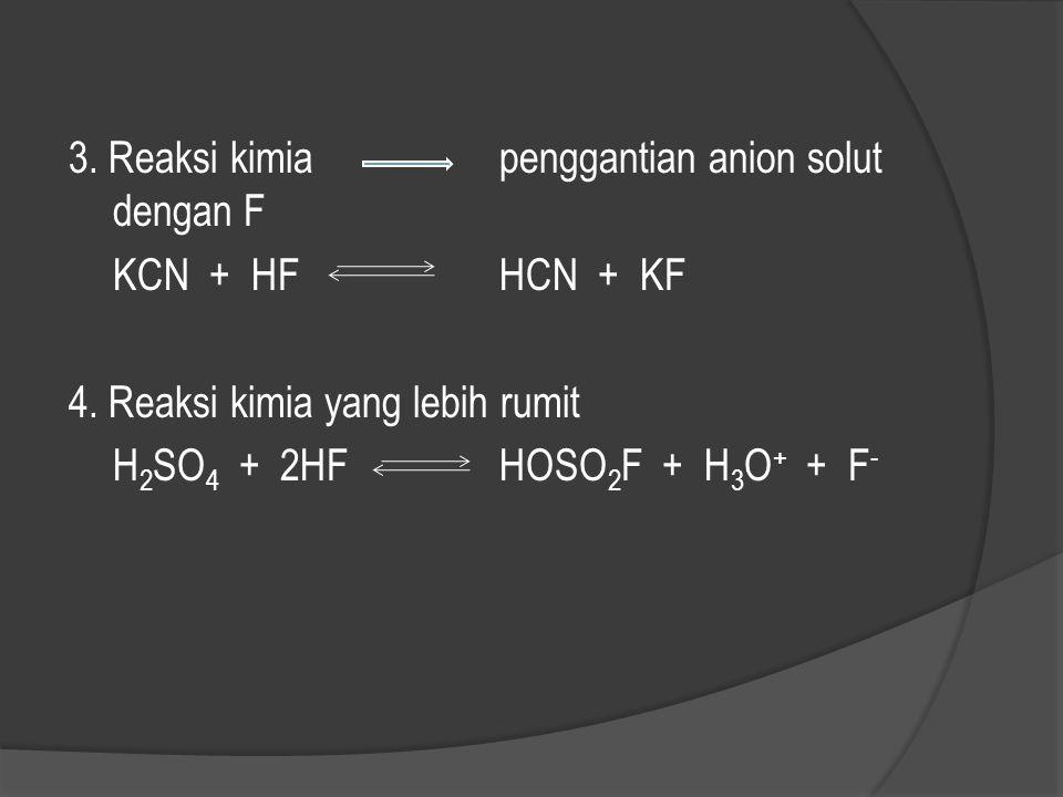 Proses pelarutan solut dalam HF 1. Disosiasi ion yang sama KF + HFK + + HF 2 - 2. Penambahan HF pada solut, diikuti dengan disosiasi menghasilkan ion