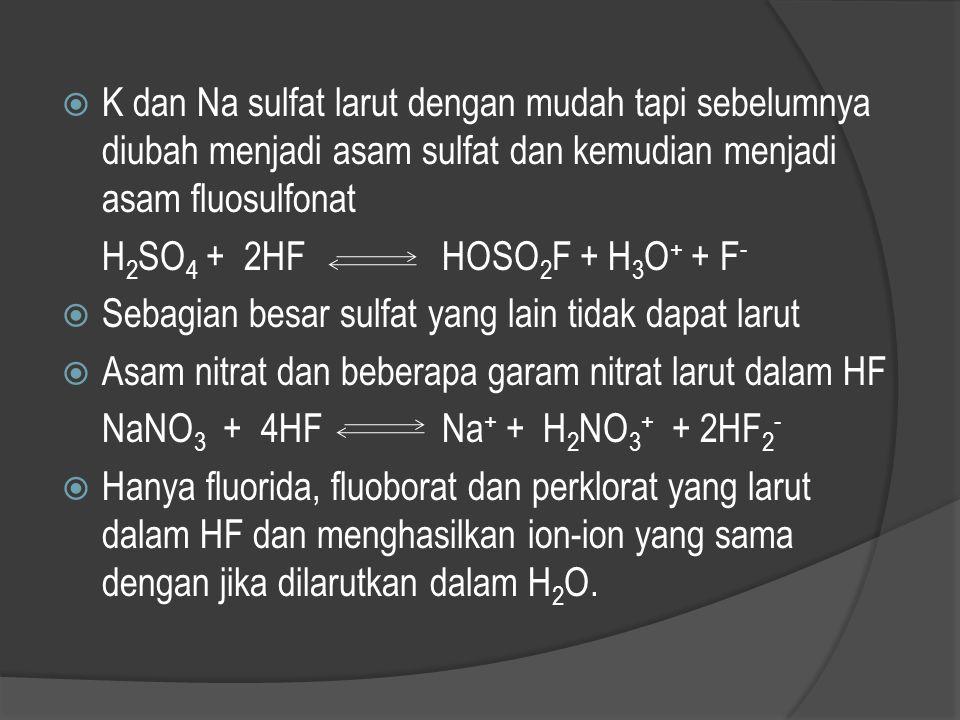  Oksida dan hidroksida biasanya bereaksi keras dengan HF membentuk F - dan H 2 O. H 2 O bereaksi dengan pelarut berlebih menghasilkan hidronium dan i