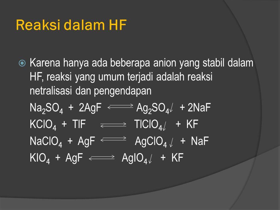  K dan Na sulfat larut dengan mudah tapi sebelumnya diubah menjadi asam sulfat dan kemudian menjadi asam fluosulfonat H 2 SO 4 + 2HF HOSO 2 F + H 3 O