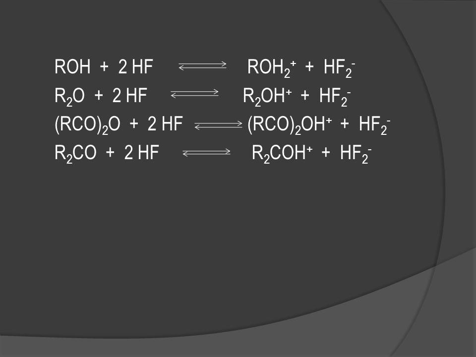  Beberapa senyawa organik larut dalam HF dan menghasilkan larutan dengan konduktivitas tinggi  Reaksi solvasi dimana molekul organik menerima proton
