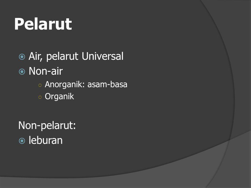 Pelarut  Air, pelarut Universal  Non-air ○ Anorganik: asam-basa ○ Organik Non-pelarut:  leburan