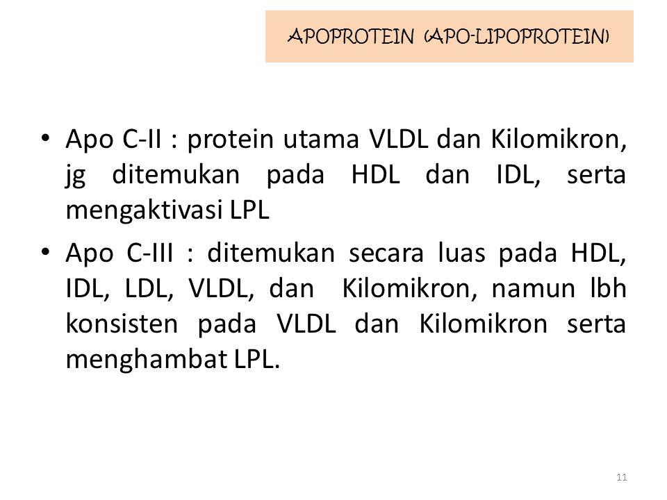 Apo C-II : protein utama VLDL dan Kilomikron, jg ditemukan pada HDL dan IDL, serta mengaktivasi LPL Apo C-III : ditemukan secara luas pada HDL, IDL, LDL, VLDL, dan Kilomikron, namun lbh konsisten pada VLDL dan Kilomikron serta menghambat LPL.