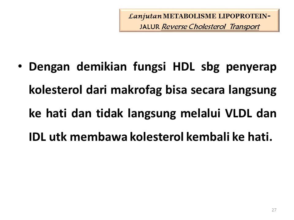 Dengan demikian fungsi HDL sbg penyerap kolesterol dari makrofag bisa secara langsung ke hati dan tidak langsung melalui VLDL dan IDL utk membawa kolesterol kembali ke hati.
