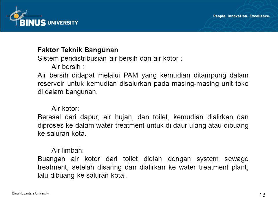 Bina Nusantara University 13 Faktor Teknik Bangunan Sistem pendistribusian air bersih dan air kotor : Air bersih : Air bersih didapat melalui PAM yang kemudian ditampung dalam reservoir untuk kemudian disalurkan pada masing-masing unit toko di dalam bangunan.