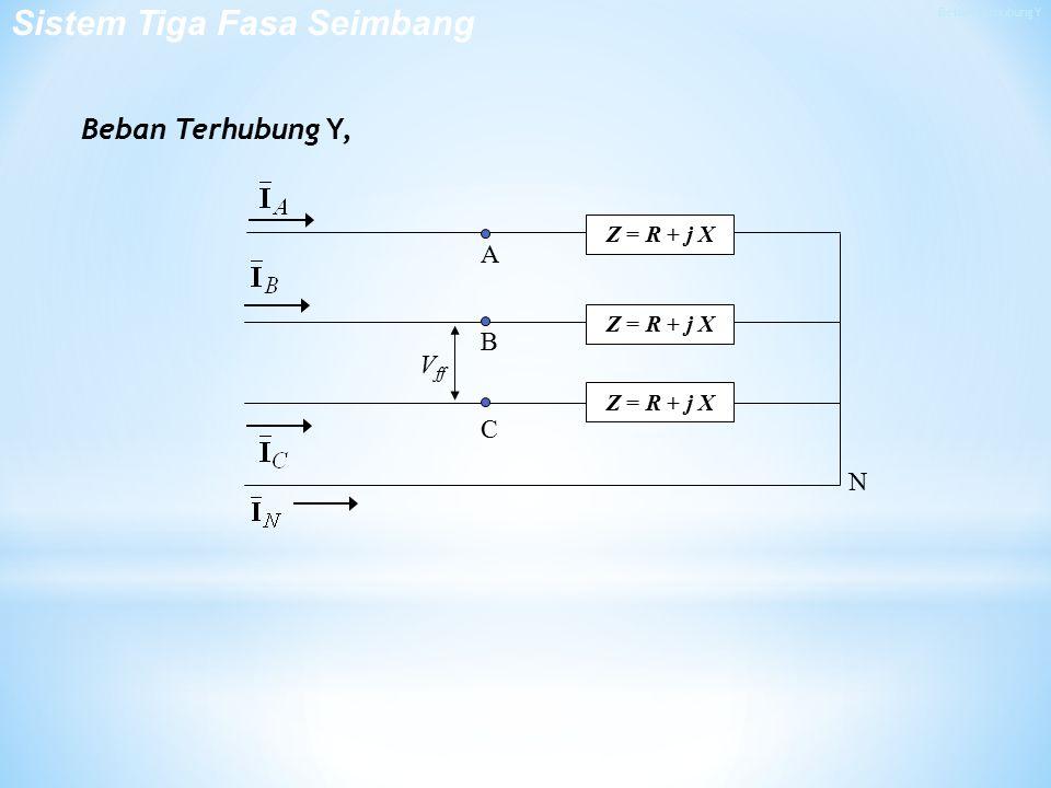 Beban Terhubung Y, V ff N A B C Z = R + j X Sistem Tiga Fasa Seimbang