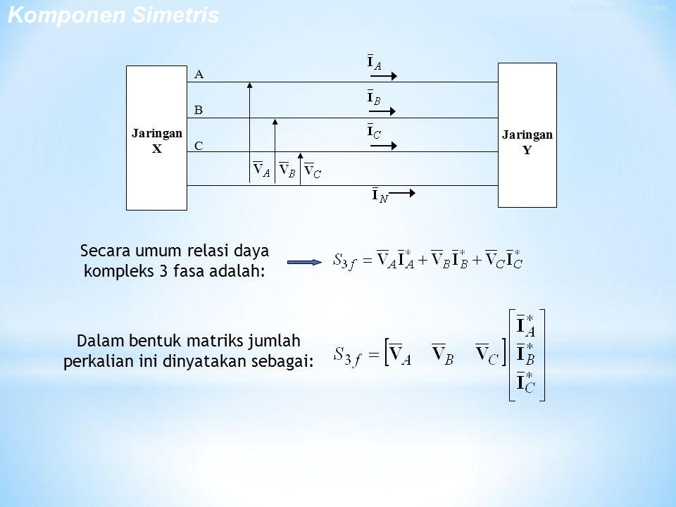 Secara umum relasi daya kompleks 3 fasa adalah: Dalam bentuk matriks jumlah perkalian ini dinyatakan sebagai: A B C Jaringan X Jaringan Y Komponen Simetris