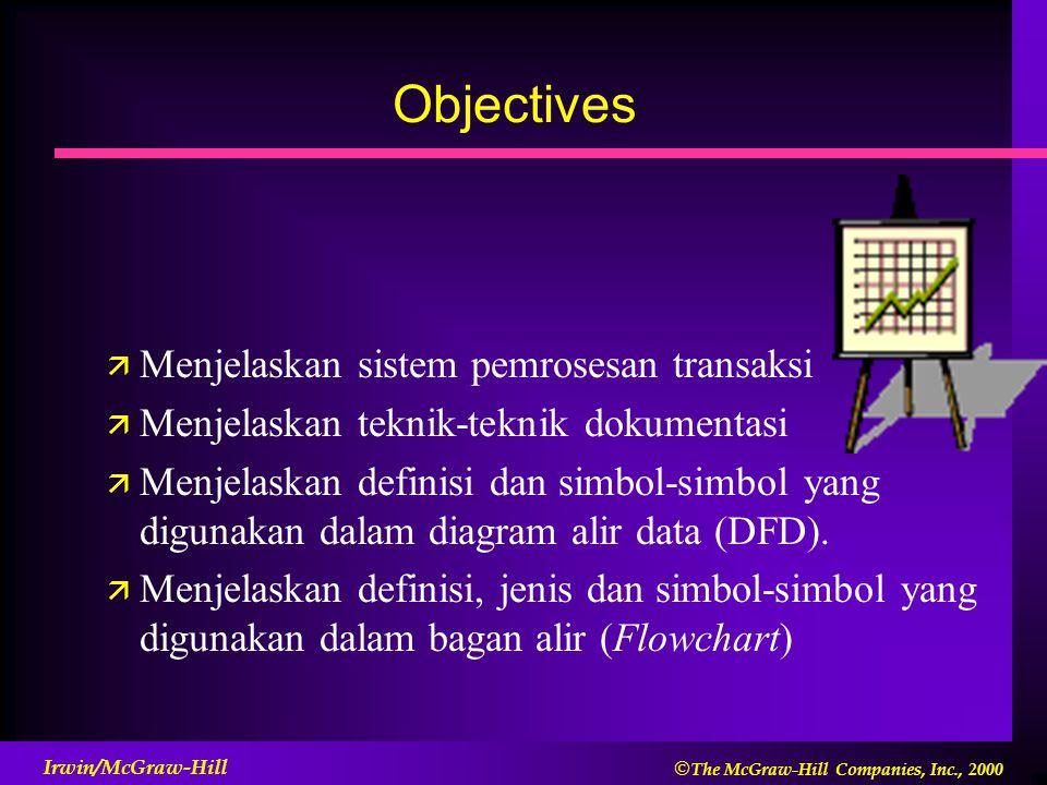  The McGraw-Hill Companies, Inc., 2000 Irwin/McGraw-Hill Objectives ä Menjelaskan sistem pemrosesan transaksi ä Menjelaskan teknik-teknik dokumentas
