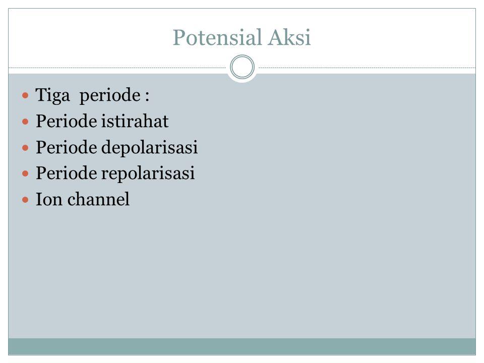 Potensial Aksi Tiga periode : Periode istirahat Periode depolarisasi Periode repolarisasi Ion channel