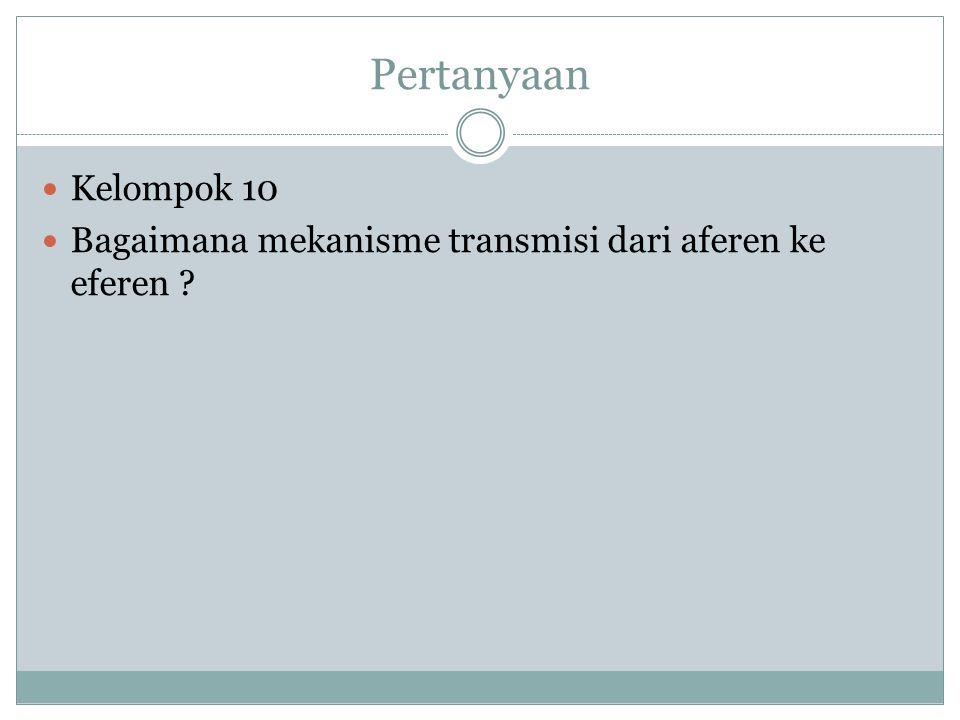 Pertanyaan Kelompok 10 Bagaimana mekanisme transmisi dari aferen ke eferen ?