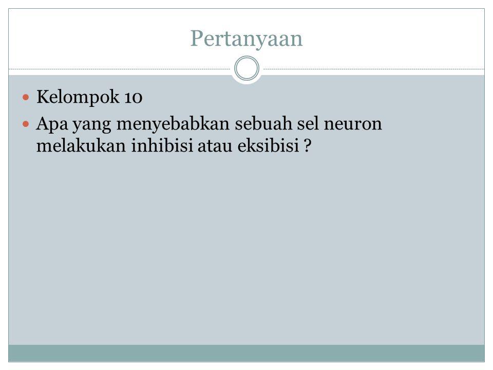 Pertanyaan Kelompok 10 Apa yang menyebabkan sebuah sel neuron melakukan inhibisi atau eksibisi ?