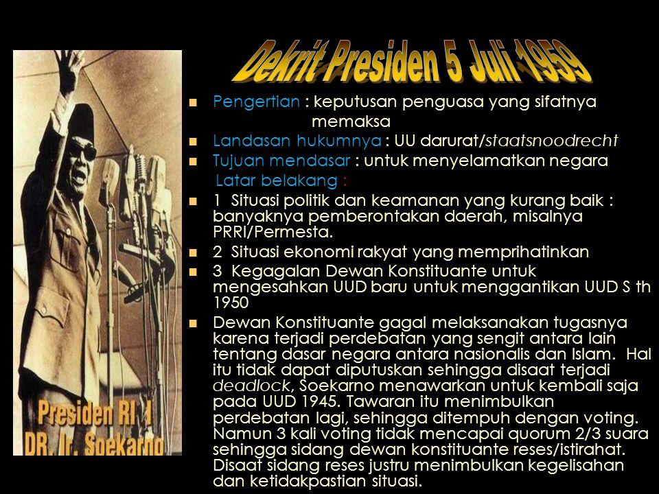 Sistem Pemerintahan Sejak tahun 1950 - 1959 demokrasi yang diterapkan di Indonesia adalah demokrasi liberal & sistem kabinet parlementer.