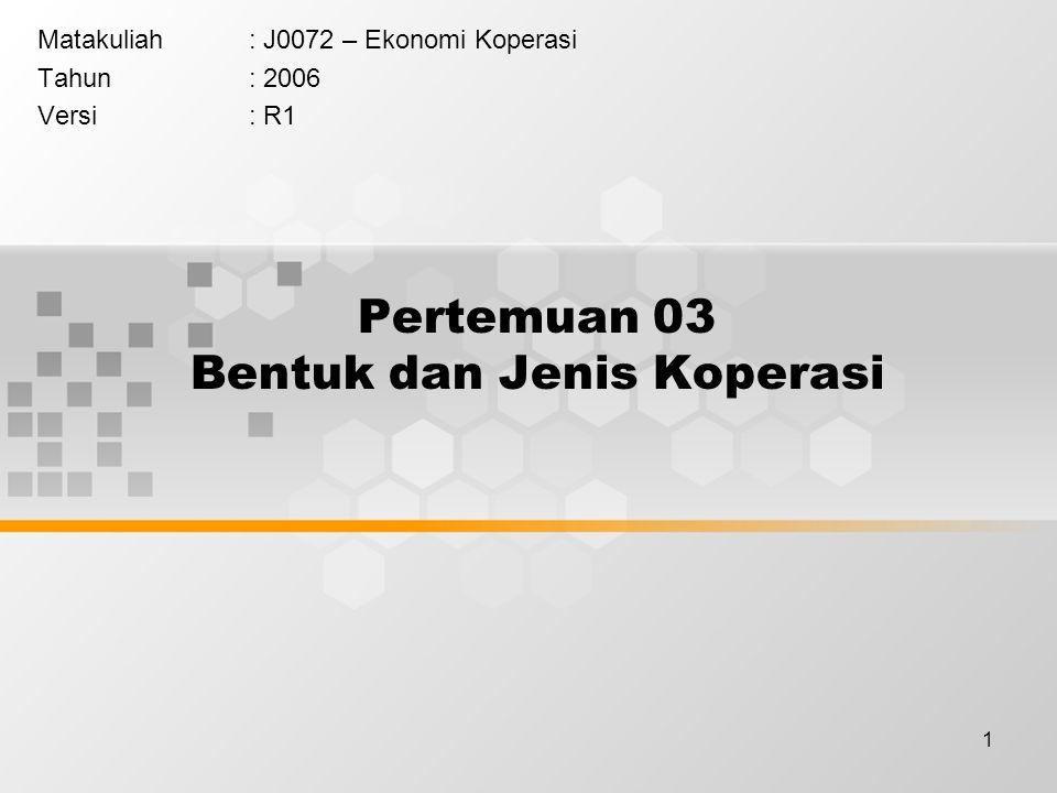 1 Pertemuan 03 Bentuk dan Jenis Koperasi Matakuliah: J0072 – Ekonomi Koperasi Tahun: 2006 Versi: R1