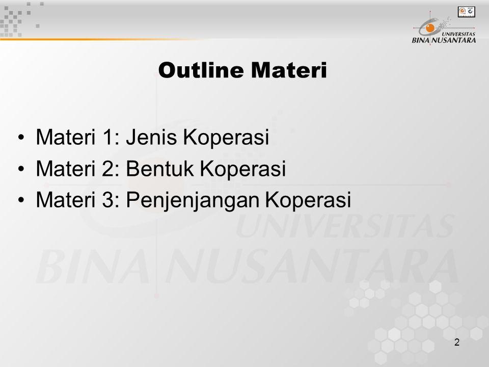 2 Outline Materi Materi 1: Jenis Koperasi Materi 2: Bentuk Koperasi Materi 3: Penjenjangan Koperasi