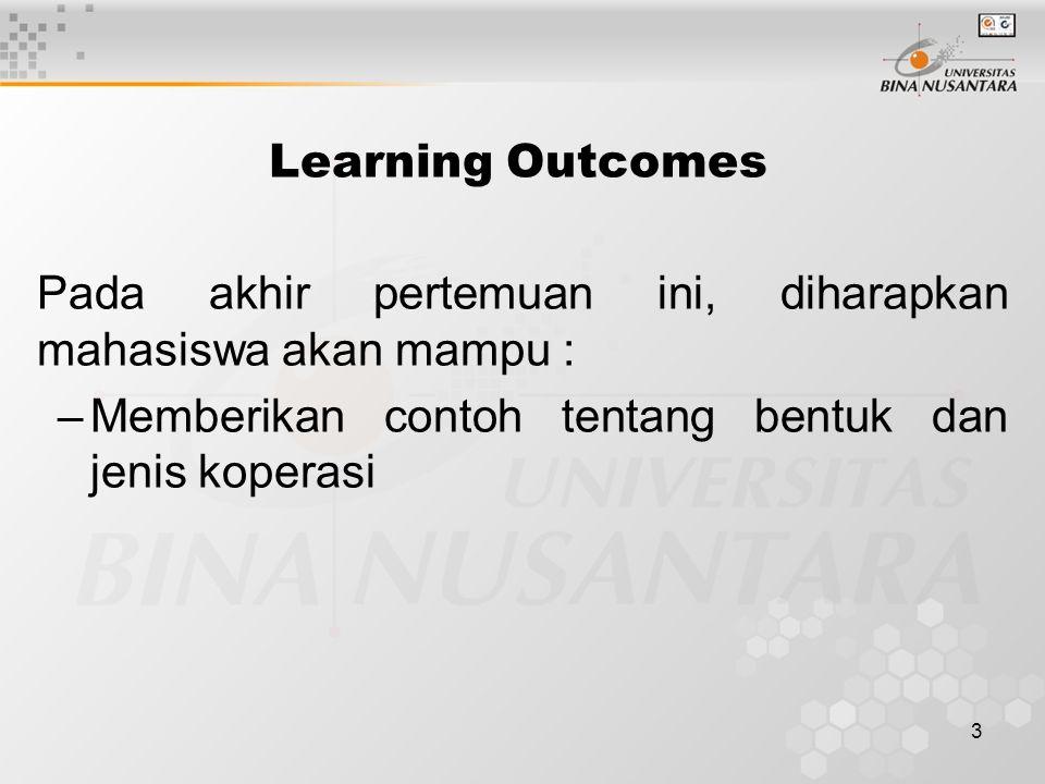3 Learning Outcomes Pada akhir pertemuan ini, diharapkan mahasiswa akan mampu : –Memberikan contoh tentang bentuk dan jenis koperasi