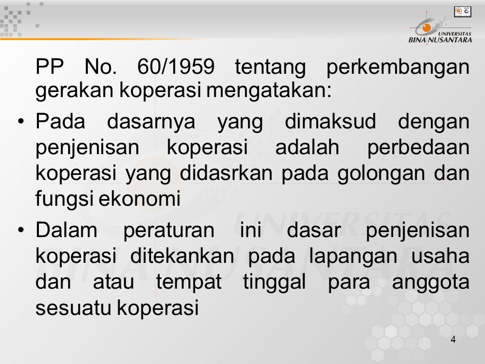 5 PS.3. PP. No. 60 /1959: Tentang Perkembangan gerakan Koperasi.