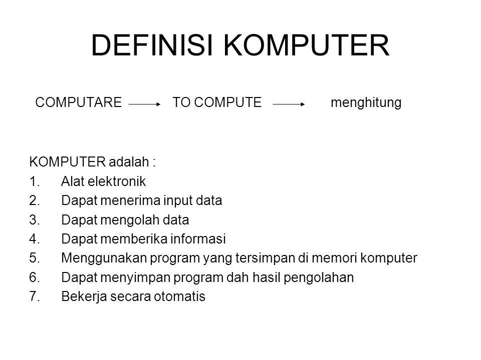 DEFINISI KOMPUTER COMPUTARE TO COMPUTE menghitung KOMPUTER adalah : 1.Alat elektronik 2.Dapat menerima input data 3.Dapat mengolah data 4.Dapat member