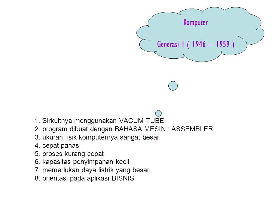 Komputer Generasi I ( 1946 – 1959 ) 1. Sirkuitnya menggunakan VACUM TUBE 2. program dibuat dengan BAHASA MESIN : ASSEMBLER 3. ukuran fisik komputernya