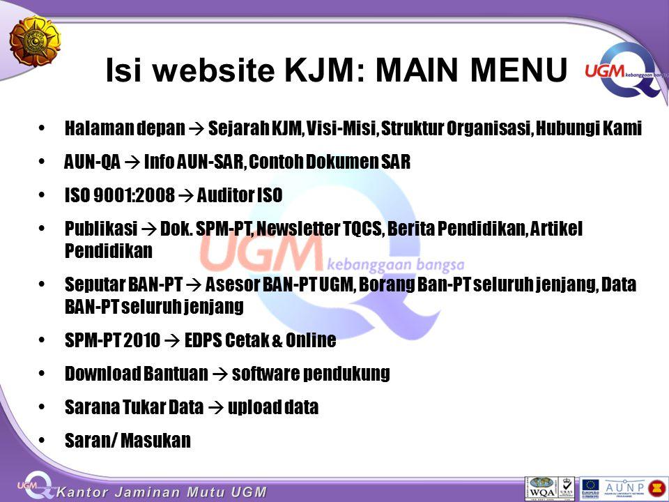 Isi website KJM: MAIN MENU Halaman depan  Sejarah KJM, Visi-Misi, Struktur Organisasi, Hubungi Kami AUN-QA  Info AUN-SAR, Contoh Dokumen SAR ISO 900