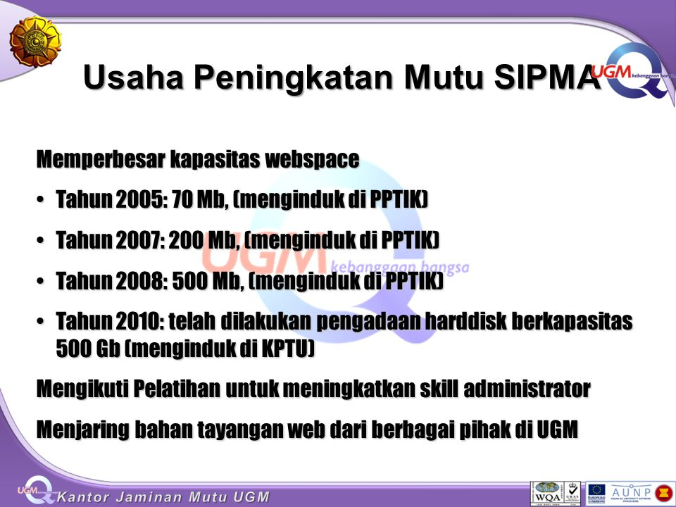 Usaha Peningkatan Mutu SIPMA Memperbesar kapasitas webspace Tahun 2005: 70 Mb, (menginduk di PPTIK)Tahun 2005: 70 Mb, (menginduk di PPTIK) Tahun 2007: