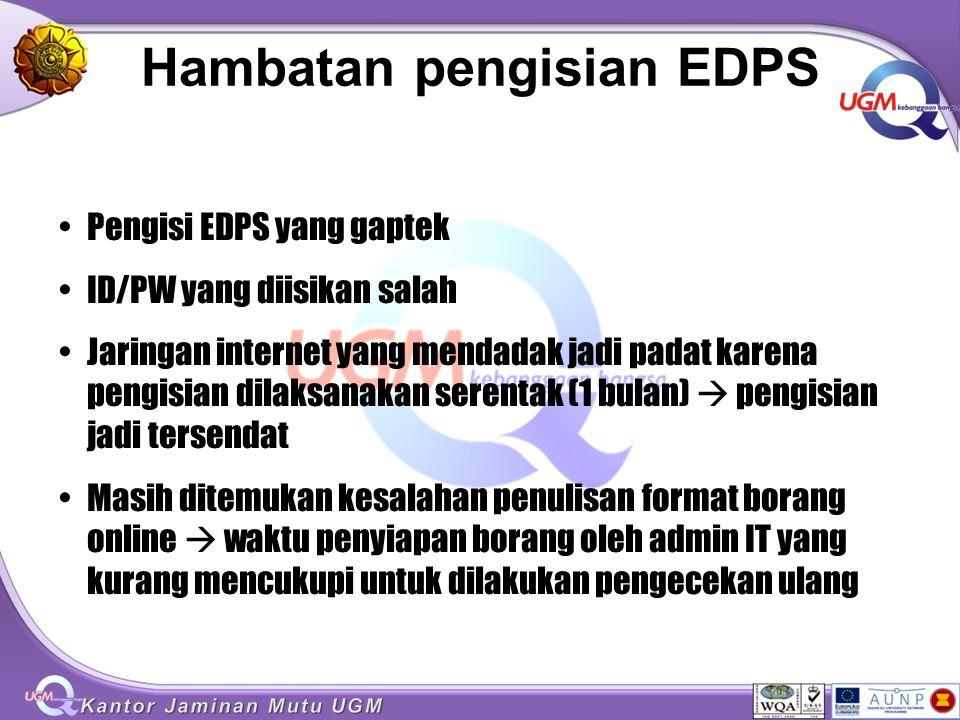 Hambatan pengisian EDPS Pengisi EDPS yang gaptek ID/PW yang diisikan salah Jaringan internet yang mendadak jadi padat karena pengisian dilaksanakan se