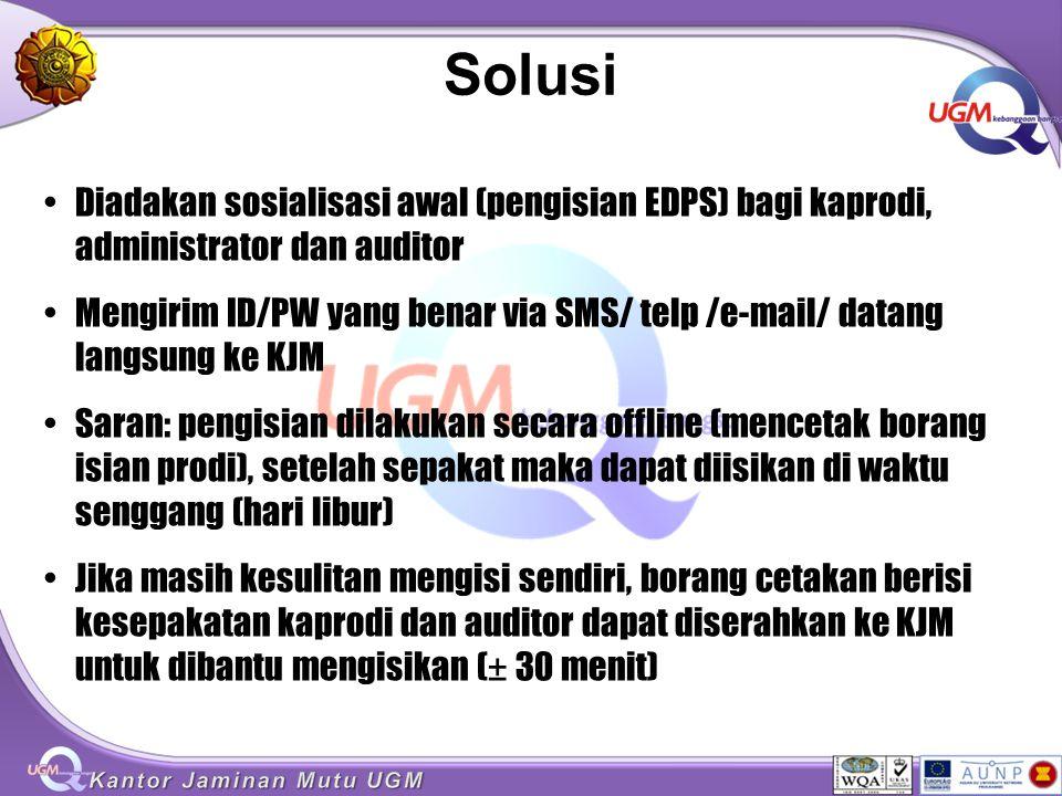 Solusi Diadakan sosialisasi awal (pengisian EDPS) bagi kaprodi, administrator dan auditor Mengirim ID/PW yang benar via SMS/ telp /e-mail/ datang lang