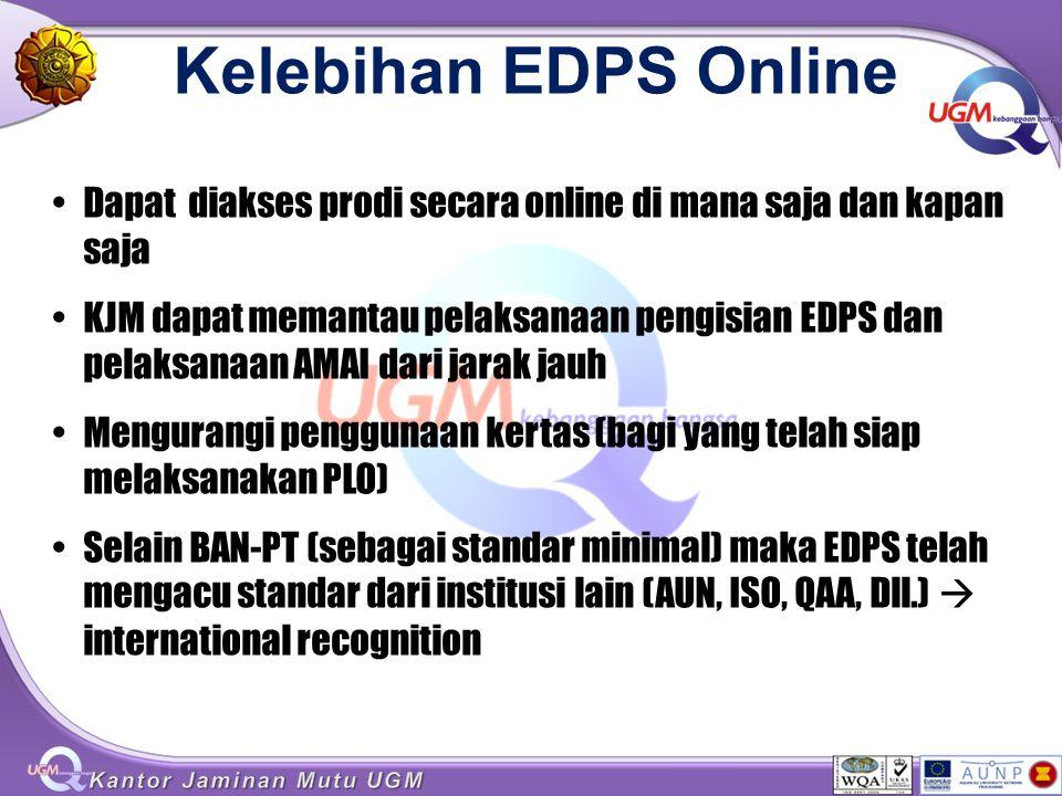 Kelebihan EDPS Online Dapat diakses prodi secara online di mana saja dan kapan saja KJM dapat memantau pelaksanaan pengisian EDPS dan pelaksanaan AMAI