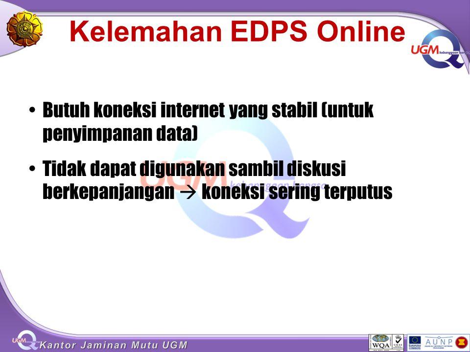 Kelemahan EDPS Online Butuh koneksi internet yang stabil (untuk penyimpanan data) Tidak dapat digunakan sambil diskusi berkepanjangan  koneksi sering