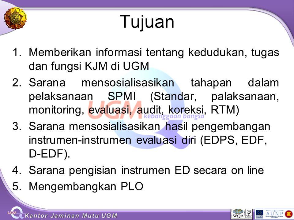 Tujuan 1.Memberikan informasi tentang kedudukan, tugas dan fungsi KJM di UGM 2.Sarana mensosialisasikan tahapan dalam pelaksanaan SPMI (Standar, palak