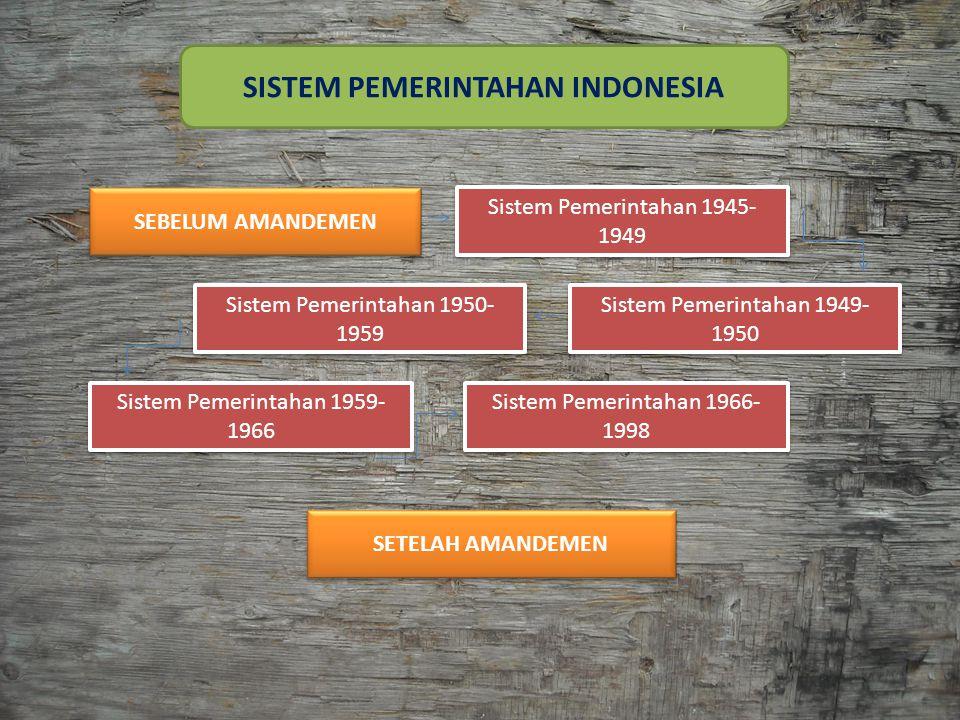 SISTEM PEMERINTAHAN SEBELUM AMANDEMEN 1.SISTEM PEMERINTAHAN PERIODE 1945-1949 Lama periode : 18 Agustus 1945 – 27 Desember 1949 Bentuk Negara : Kesatuan Bentuk Pemerintahan : Republik Sistem Pemerintahan : Presidensial Konstitusi : UUD 1945 2.SISTEM PEMERINTAHAN PERIODE 1949-1950 Lama periode : 27 Desember 1949 – 15 Agustus 1950 Bentuk Negara : Serikat (Federasi) Bentuk Pemerintahan: Republik Sistem Pemerintahan : Parlementer Semu (Quasi Parlementer) Konstitusi : Konstitusi RIS