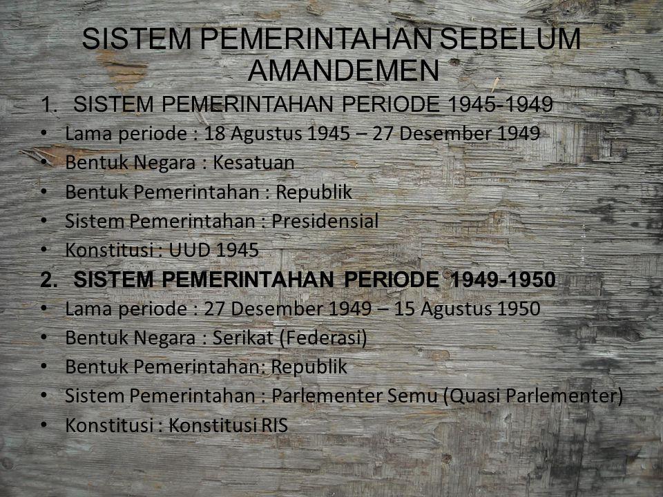 SISTEM PEMERINTAHAN SEBELUM AMANDEMEN 1.SISTEM PEMERINTAHAN PERIODE 1945-1949 Lama periode : 18 Agustus 1945 – 27 Desember 1949 Bentuk Negara : Kesatu