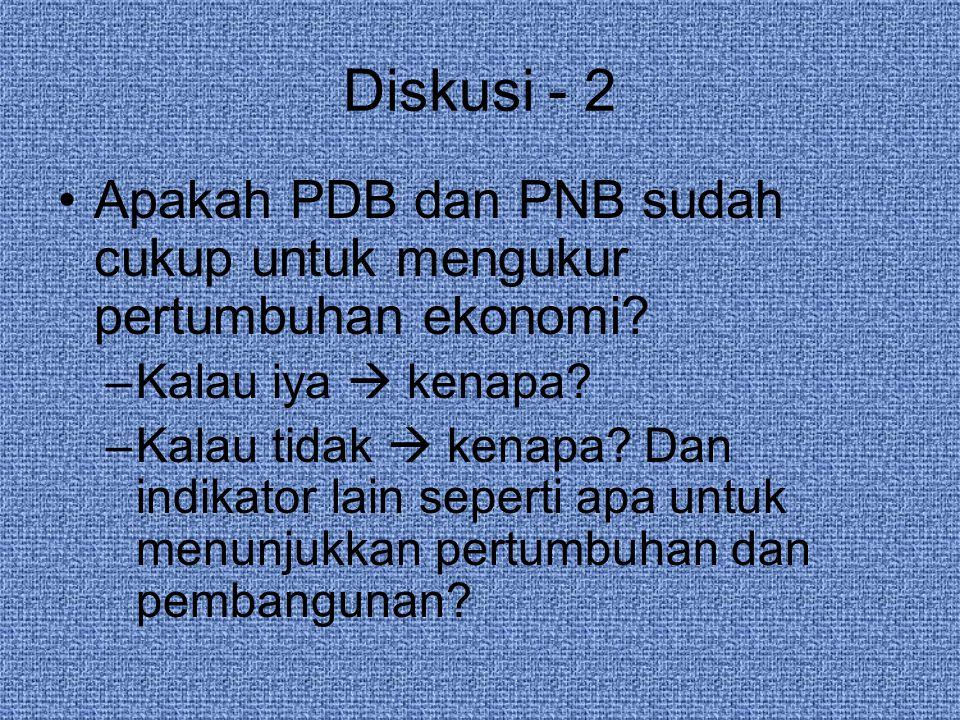 Diskusi - 2 Apakah PDB dan PNB sudah cukup untuk mengukur pertumbuhan ekonomi.