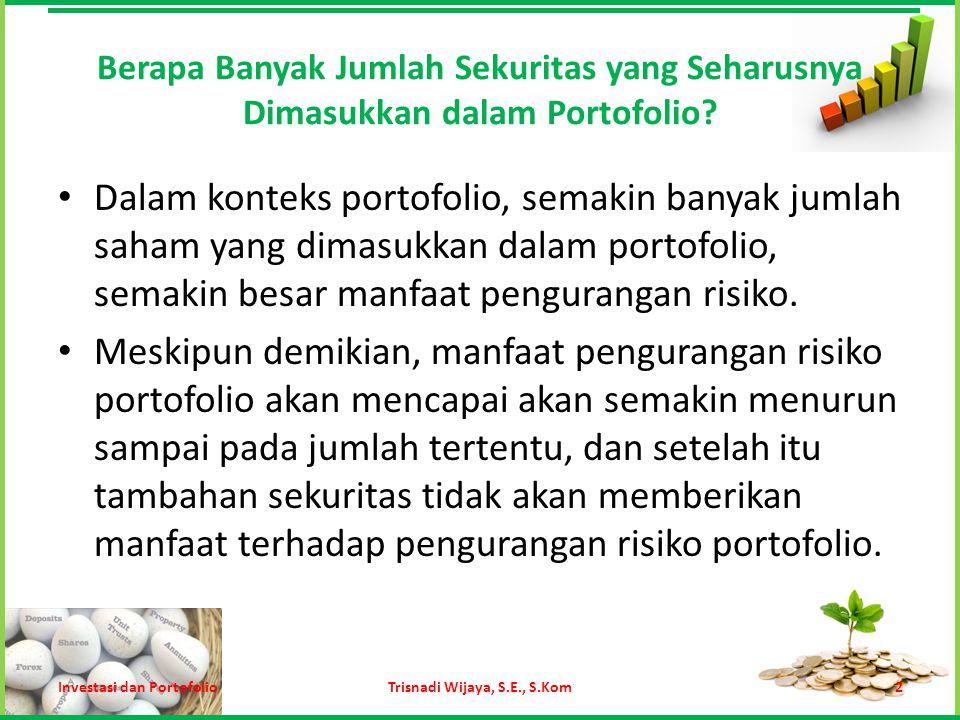 Return Ekspektasi Portofolio Apabila proporsi dana yang diinvestasikan nilainya sama, maka rumusnya sebagai berikut: Trisnadi Wijaya, S.E., S.Kom13 Di mana N = jumlah saham dalam portofolio Investasi dan Portofolio