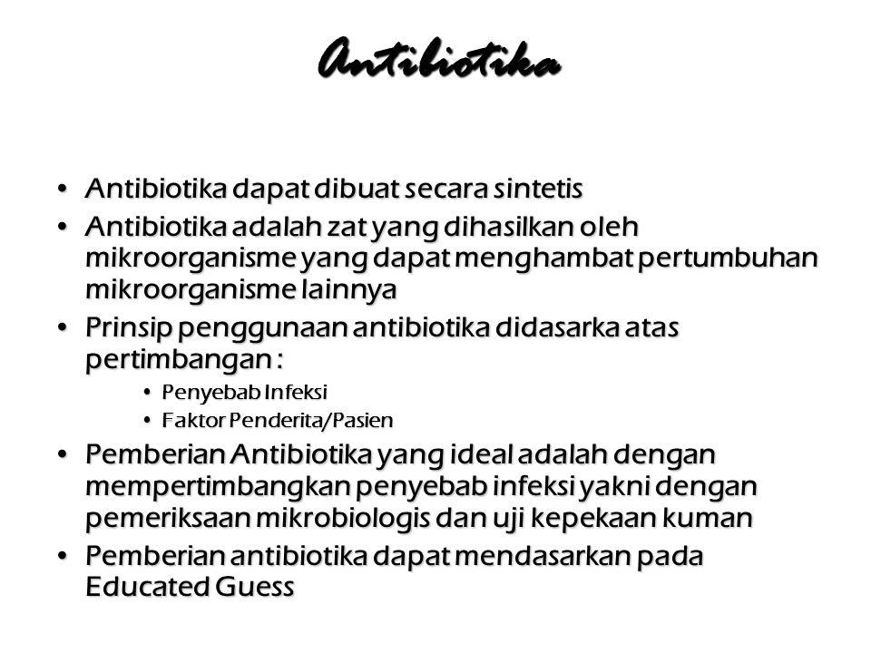 Indikasi pemakaian Penisilin PneumoniaPneumonia Otitis mediaOtitis media FaringitisFaringitis Demam reumatikDemam reumatik GonorhoeGonorhoe Klostridia gas gangren,Klostridia gas gangren, TetanusTetanus OsteomielitisOsteomielitis DifteriDifteri