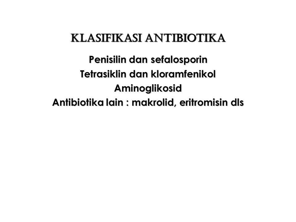 Cara kerja Antibiotika 1.Mengganggu dinding sel bakteri : penisilin dan sefalosforin 2.Merusak membran sel : Nystatin, Amfoterisin 3.Merusak protein sel bakteri : Kemicetin, Tetrasiklin dan Lincocin 4.Merusak RNA ( Ribo Nucleic Acid ) : Rifampicin caplet, Mitomicin inj
