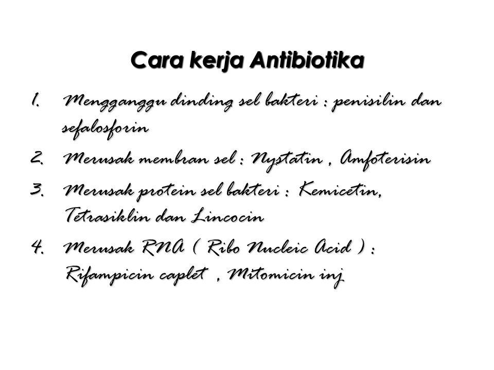 Cara kerja Antibiotika 1.Mengganggu dinding sel bakteri : penisilin dan sefalosforin 2.Merusak membran sel : Nystatin, Amfoterisin 3.Merusak protein s