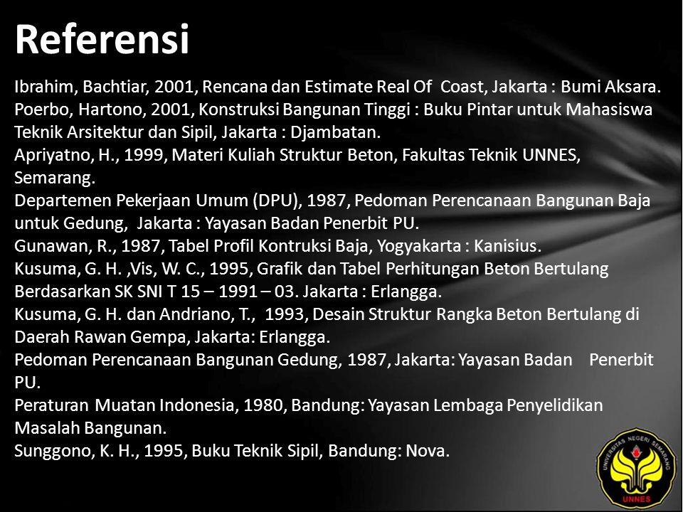 Referensi Ibrahim, Bachtiar, 2001, Rencana dan Estimate Real Of Coast, Jakarta : Bumi Aksara.