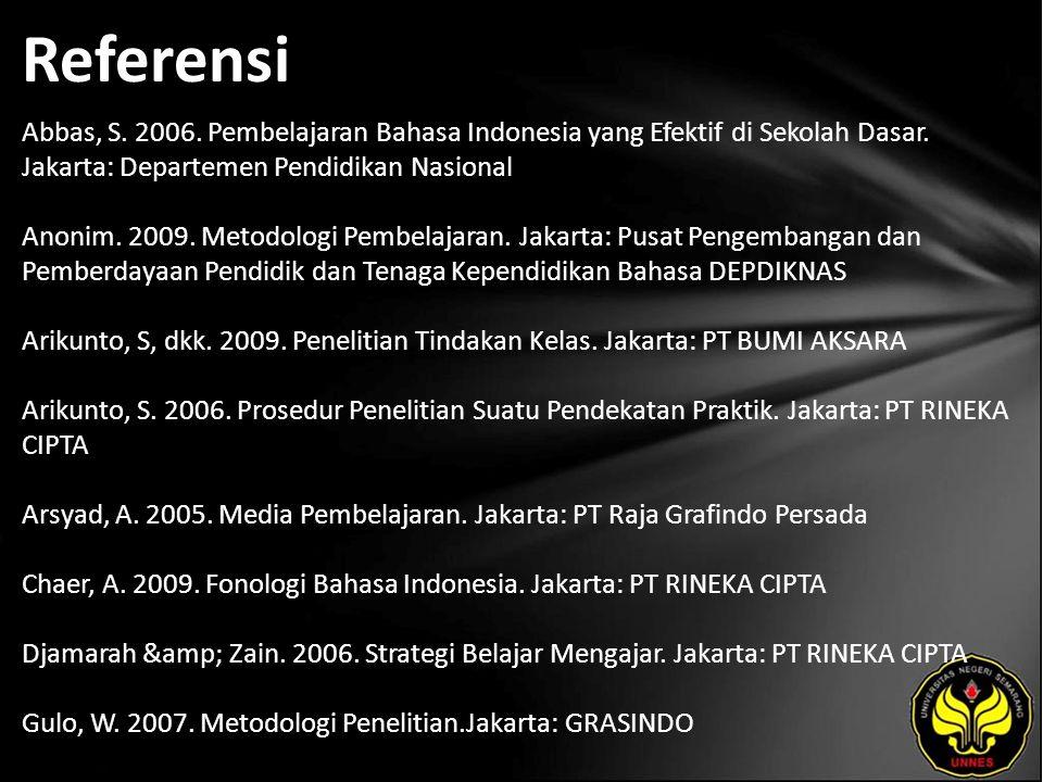Referensi Abbas, S. 2006. Pembelajaran Bahasa Indonesia yang Efektif di Sekolah Dasar. Jakarta: Departemen Pendidikan Nasional Anonim. 2009. Metodolog