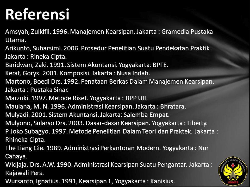 Referensi Amsyah, Zulkifli. 1996. Manajemen Kearsipan.