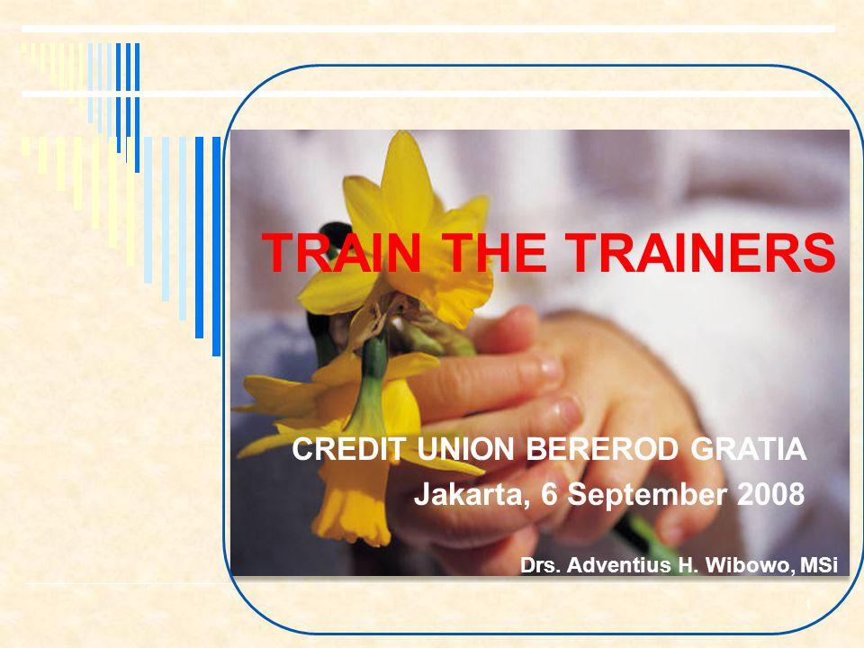 TRAIN THE TRAINERS CREDIT UNION BEREROD GRATIA Jakarta, 6 September 2008 Drs.